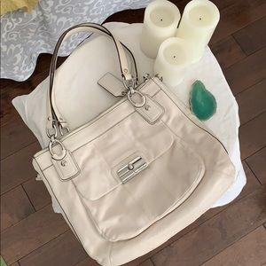 White Leather Coach Shoulder Bag